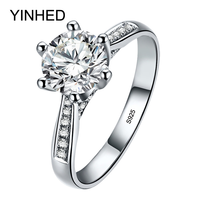 YINHED Classic 6 Claws Wedding Rings for Women 100% Solid 925 Sterling Silver Ring 1 CT Zircon CZ Diamant Engagement Ring ZR332(China)
