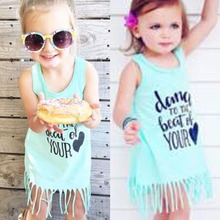 Puseky 2017 Summer Toddler Kid Baby Girl Summer Clothes Sleeveless Tassel Tops T-Shirt Dress Shirts 1-6T