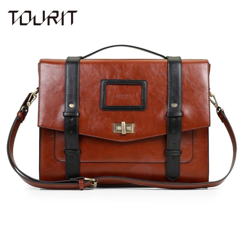 TOURIT New Women Messenger Bags PU Leather Handbag Vintage Crossbody Satchel Briefcase Bolsas Femininas Bags for 14.7 Laptop<br><br>Aliexpress
