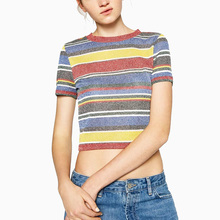 2016 Summer Knitted Crop Top T shirt Women White Black Yellow Blue Red Stripped Short Sleeve Elastic Tees Women Cropped Tops