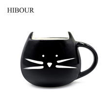 HIBOUR Novelty Cute Cat Animal Cup Ceramic Coffee Mug Milk Tea Cups Creative Cat Mugs with Animal Cups Drinkware Gift 400ml(China)
