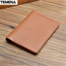 TEMENA vintage genuine leather short 14.5*10 cm travel wallet for passport cover for documents business card holder BPH125A(China)