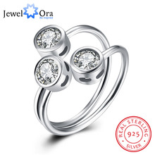 3 Stone Cubic Zirconia Solid 925 Sterling Silver Adjustable Rings For Women New 2016 Party Accessorise (JewelOra RI102186)(China)