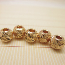 Rose gold filled Beads carved round spacer beads 5mm 50pcs DIY Jewerly accessories for jewelry making(China)