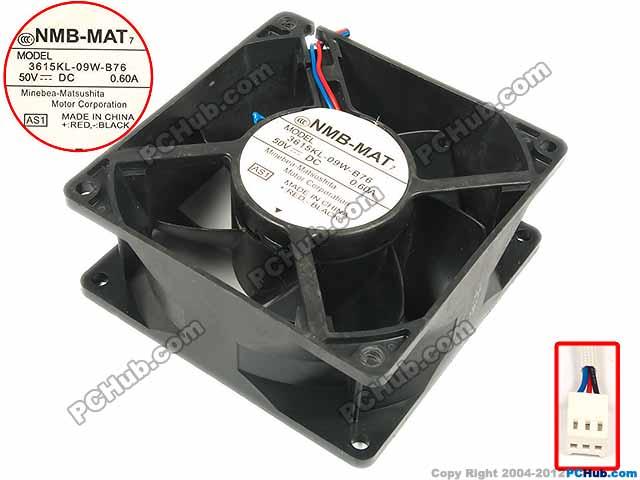 NMB-MAT 3615KL-09W-B76, AS1 DC 50V 0.60A   92x92x38mm Server Square fan<br>