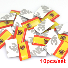 10pcs/lot, New Car styling Spain small Decorative Badge Hub caps Steering wheel for VW AUDI Skoda Seat Mazda Car Emblem Sticker(China)