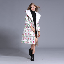 Street Down Jacket 2016 Women Long Sleeve Novelty Flowers Print Autumn Winter Belt Slim Elegant Warm Down Jack With Hat