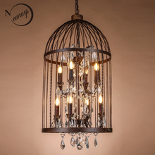 Retro vintage black rust wrought iron cage chandeliers E14 big french empire style crystal chandelier LED lamp Hardware Lighting