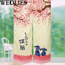 Blossom Cherry Doorway Curtain Sakura Dog Japanese Shower Curtain Home Bathroom Decorative Accessories Textiles Houseware(China)