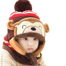 Winter Baby Hat Scarf Set Cute Bear Crochet Knitted Caps for Infant Boys Girls Children Kids Neck Warmer and Hat LA935079