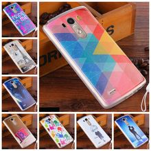 Fashion Painted Patterns Soft TPU Back Cover For LG G3 D830 D850 Silicone Case for LG G3 Phone Protective Cases +Lanyard