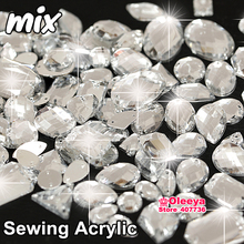 300pcs/bag Mixed Sizes Mixed Shapes Beads Clear White Acrylic Sew-On Rhinestones Flatback Sewing Strass Loose For Dresses Y3489(China)