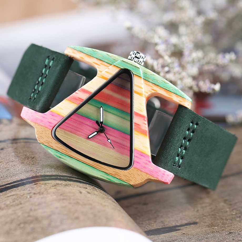 Creative Women Wood Watches Unique Colorful Wooden Triangle Hollow Quartz Wristwatch Ladies Elegant Fashion Genuine Leather Hour (9)