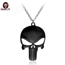 Free Shipping Movie Jewelry Necklace Marvel Super Hero The Punisher Steel Chain Pendant Necklace Factory Direct Selling