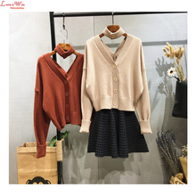 new Year 2018 popular sexy knitting cardigans choker sweaters double V-neck casual collect waist loose knitted tops(China)