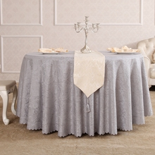 Silver Grey Rattan Flower Synthetic Hair Rectangle Squaretablecloths Hotel All Sizes Table Cloth For Dining Table(China)