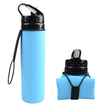 Food Grade 600ML Creative Collapsible Foldable Silicone drink Sport Water Bottle Camping Travel my plastic bicycle bottle(China)