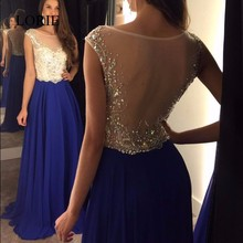 A Line Prom Dress 2017 Scoop Cap Crystals Beading Sexy Royal Blue Evening Dresses Long And Outlet Light Blue Formal Party Gowns