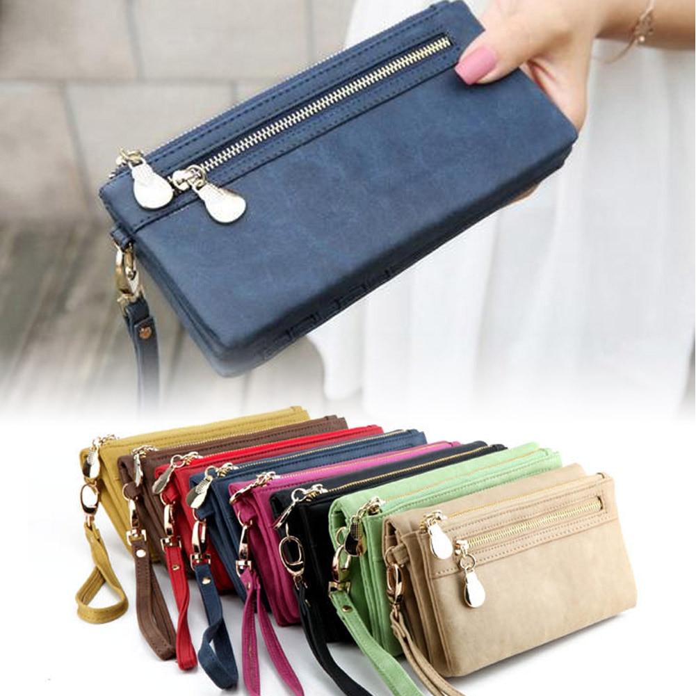 Women Fashion Day Clutches Vintage Double Zipper Dull Polish Leather Long Wallet Handbag<br><br>Aliexpress