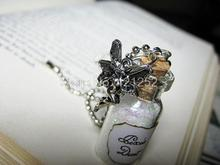 12pcs/lot Pixie Dust Necklace Fairy Dust Charm Pixies Fairy Tale Glitter Pendant silver tone(China)