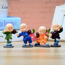 4pcs/1set Miniature Figurines Resin Chinese Kongfu Little Monk Craft Home Decoration Anime Figurine Car Ornaments E487