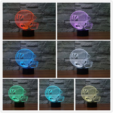 2017 3D Chicago Team Logo LED USB Lamp Bear American football Helmet Sports Cap Visual Illusion Colorful Night Light Gift Soccer