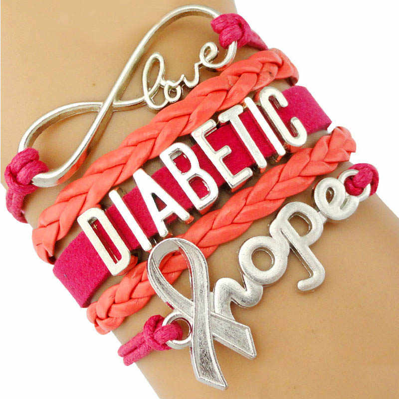 Diabetic Diabetes Medical Ribbon Hope Unicorn Heart Infinity Love Antique Silver Charm Bracelets Women Men Unisex