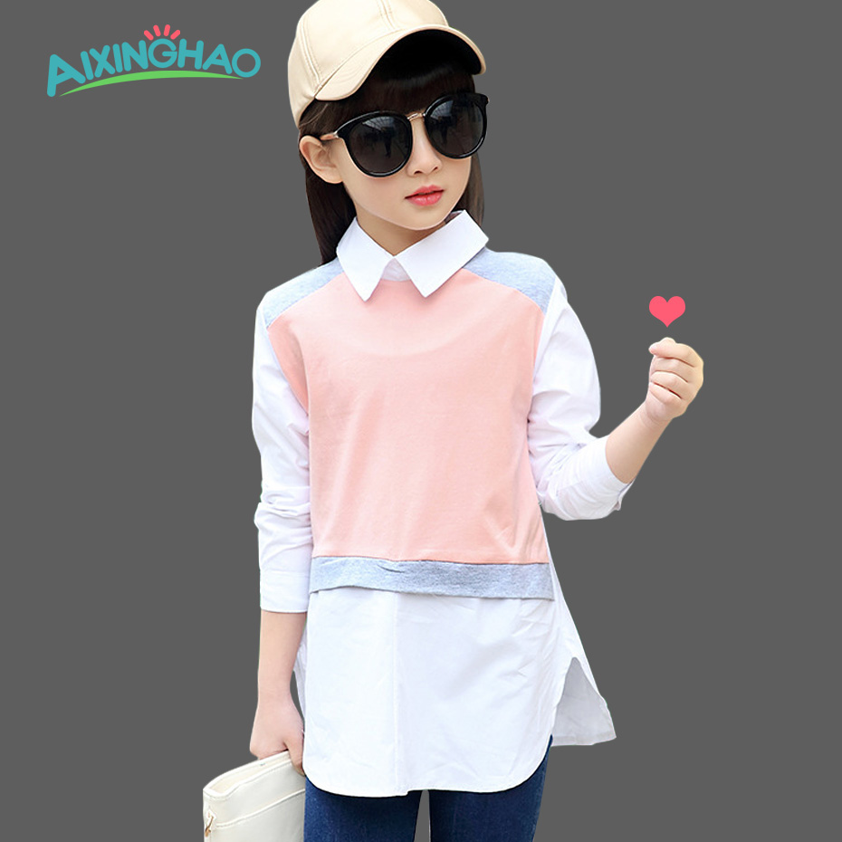 Aixinghao School Blouses Girls Shirts Turn Down Collar Children Teenage Girls Blouse Shirt Kids Long Sleeve Girls Clothes 3-15 T(China (Mainland))