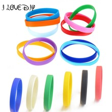 New 2pcs Assorted Custom Rubber Bracelet Elastic Light Blue Sport Silicone Wristbands DIY Many Color to Choose(China)