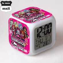 Hot Monster High wekker reveil Home Decor Kids Bedroom reloj pertador LED 7 Color Flash Digital Alarm Clock Watch With USB Cable