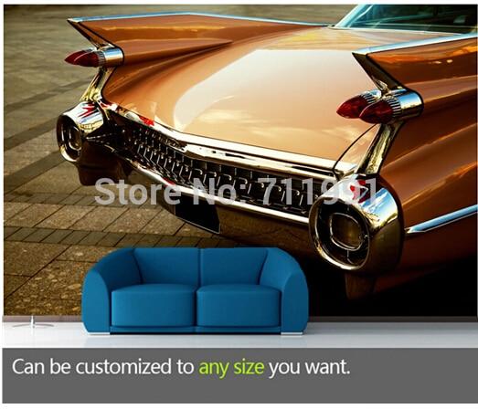 Free shipping custom large living room sofa bedroom wall mural wallpaper background Vintage Car Back End<br>
