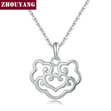 ZHOUYANG Chinese Style Hollow Lucky Wishful Safety Lock Pendant Necklace 925 Sterling Silver Fashion Jewelry for Women NY053(China)