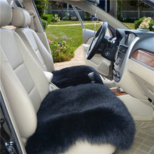 1pcs Sheepskin Car Seat Covers 45*45cm Universal Seat Cushion Winter Cozy Soft Car Fur Seat Cover Protector Car Interior Heating(China)