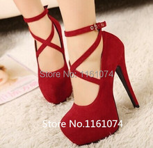 Free Shipping New High-heeled Shoes Woman Pumps Wedding Shoes Platform Fashion Women Shoes Red High Heels 14cm Suede Size 34-42