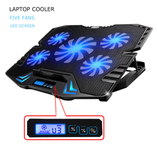 12-15.6 inch laptop Cooling Pad Laptop cooler USB Fan with 5 cooling Fans Light Notebook Stand and Quiet Fixture for laptop(China)