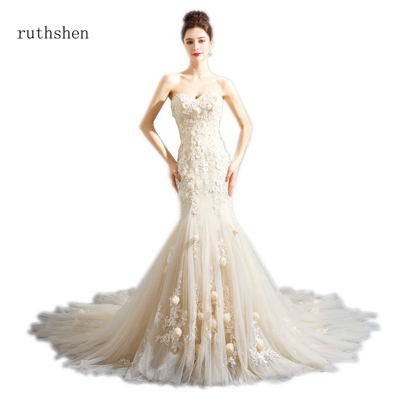 ruthshen 2018 Elegant Mermaid Sweetheart Wedding Dresses Handmade Flower Beading Lace Up Back Bridal Gowns Court Train Romantic
