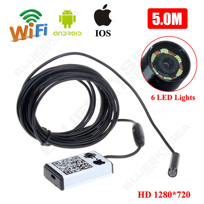 Blueskysea US 9mm 5m Wifi Endoscope Borescope Inspection Camera IP66 For iPhone Androi<br>