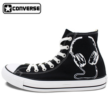 Black Converse All Star Hand Painted Shoes Earphones Original Design Custom Men Women's Sneakers Christmas Gifts