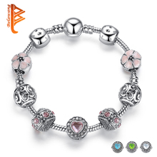 BELAWANG Luxury 925 Silver Charm Bracelet For Women With Flower and Crystal Heart Bead Bracelets Wedding Valentine's Day Jewelry(China)