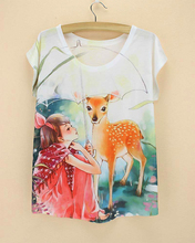 Novelty style Fairy Tales pretty girl & deer pattern top tee fashion women's t-shirt short sleeve 2015 new summer tee discount