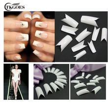 TKGOES 100PCS Beauty White V Shapes Fake False Acrylic Nail Tips Full French Nail Tips NEW Nail Art Tips Manicure Tools