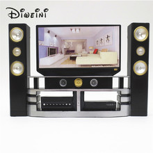 Factory Mini Hi-Fi 1:6 TV Home Theater Cabinet Set Combo For Barbie Doll Clothes Dress Accessories House Furniture Baby Toys