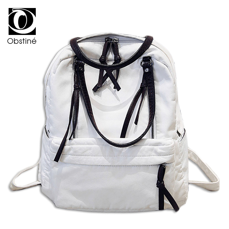 2017 pu leather backpack women school bags for teenagers white rucksacks for girls big bagpack multifunction backpacks female<br>