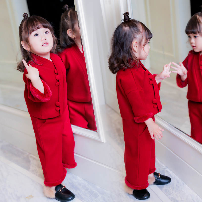 2pcs Kids  New Year Suits Clothes Baby grils Red suit Childrens Grils Hoodie Clothing Sets Toddler Casual Thick Costume Winter<br>