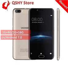 "[discount]Doogee Shoot 2 Smartphone 3G 5.0"" HD Android 7.0 MT6580A Quad Core 1GB+8GB Dual Rear Cameras Fingerprint Mobile phone"