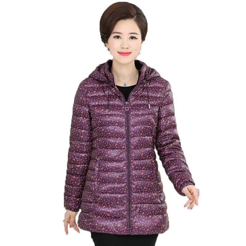 WAEOLSA Winter Woman Hooded Puffer Jackets Purple Navy Blue Small Flower Quilted Coat Middle Aged Women Puff Hood Jacket 50S 60SÎäåæäà è àêñåññóàðû<br><br>