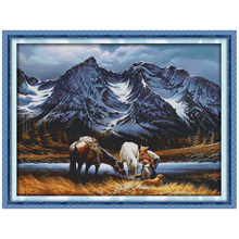 Romances under the Snow Mountains Counted Cross Stitch 11 14CT Cross Stitch Set Wholesale Cross-stitch Kit Embroidery Needlework