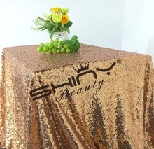 Factory Directly Selling High-end 30PCS 84'' Square Sparkly Rose Gold Sequin Tablecloth For Christmas Wedding Table Decoration(China)