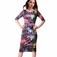 Free Shipping Casual Dresses Party O-Neck Summer Vestidos Sheath 28 Styles Floral Print Women Dress 106-20