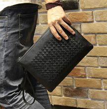 Fashion Design Black Leather Woven Bag Clutch Hand bag Wrist Envelope Bag Men's Business Handbags Wholesale Air Free Shipping